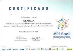 Certificado de finalista da Idealizza no MPE 2011
