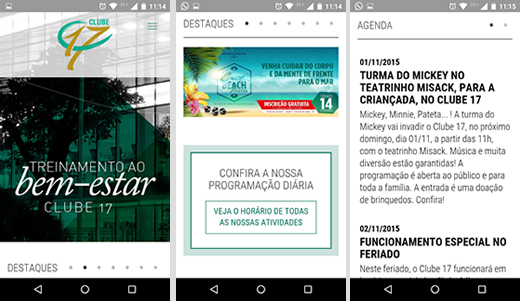 Site mobile do Clube 17